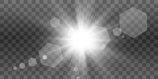 Uma bela luz branca explode com uma explosão transparente. ilustração vetorial, brilhante para um efeito perfeito com brilhos. estrela brilhante. brilho transparente do gradiente de brilho, flash brilhante