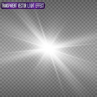 Uma bela luz branca explode com uma explosão transparente.