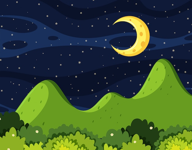 Uma bela paisagem à noite