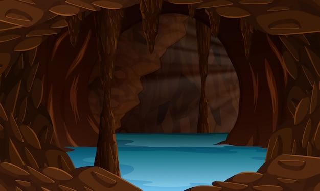 Uma bela paisagem de caverna