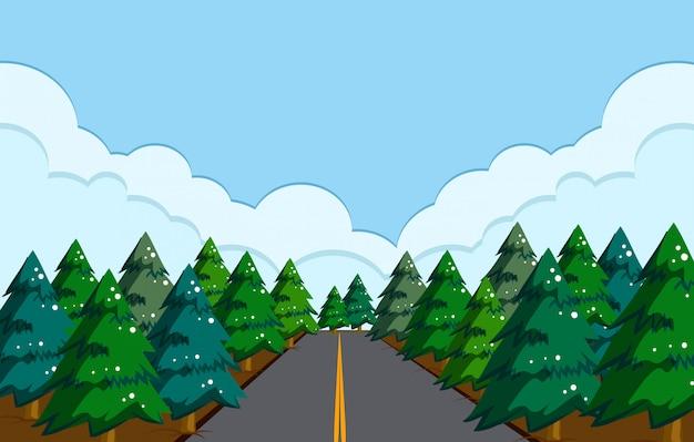 Uma bela paisagem de estrada