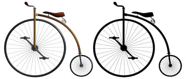 Uma bicicleta de rodas altas