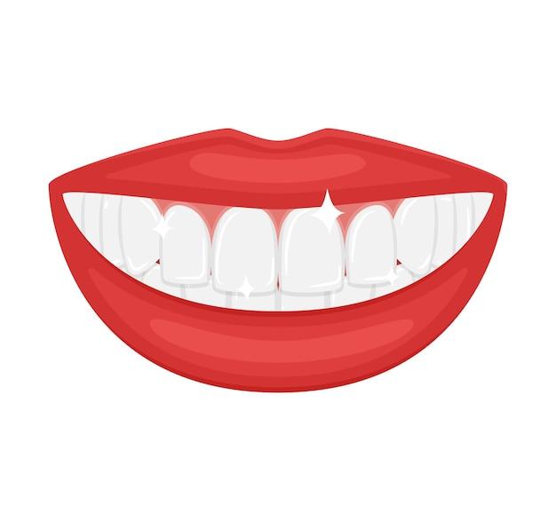 Uma boca com belos dentes brancos. um sorriso branco como a neve. lindos lábios carnudos e vermelhos. anúncio