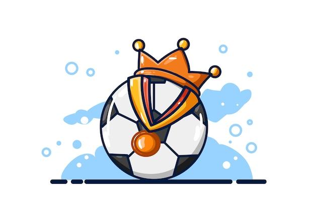 Uma bola com coroa e medalhas