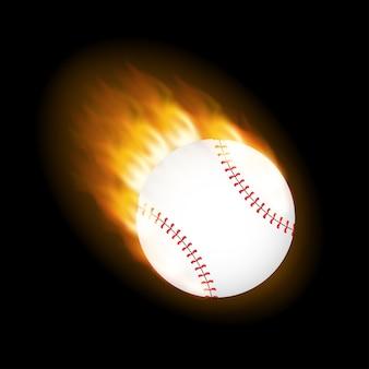 Uma bola de beisebol em chamas pegando fogo voando pelo ar.