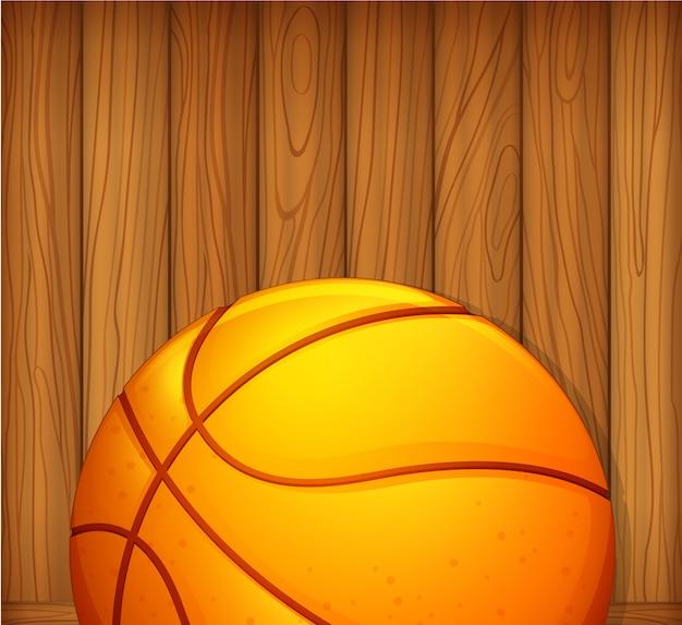 Uma bola em uma parede de madeira