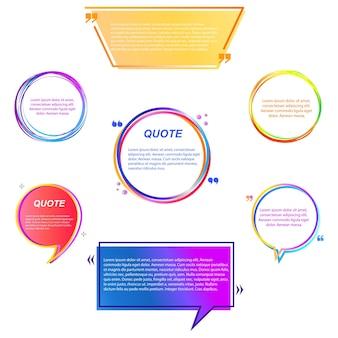 Uma bolha de cor é um modelo de citação ou um campo de caixa de texto. nota, citação citação mensagem de colchetes, quadro em branco, adesivo para desenhos animados. caixas de texto. ilustração vetorial.