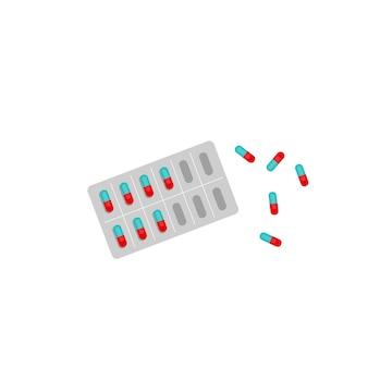 Uma bolha de pílulas. medicamentos, medicamentos, vitaminas, aspirina, analgésicos. vitaminas e suplementos dietéticos. tratar a doença. ilustração em vetor plana em um fundo branco