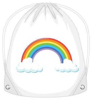 Uma bolsa de cordão branca com padrão de arco-íris