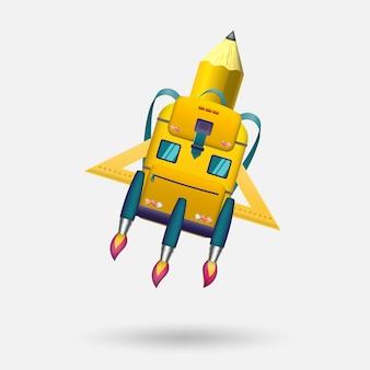 Uma bolsa escolar na forma de um foguete e um ônibus escolar decola para novos conhecimentos.