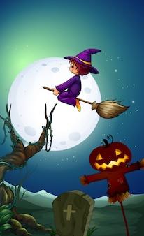 Uma bruxa andando de flor à noite