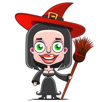 Uma bruxa de desenho animado voando em um desenho de vassoura sinal para impressão, em quadrinhos, moda, arte pop