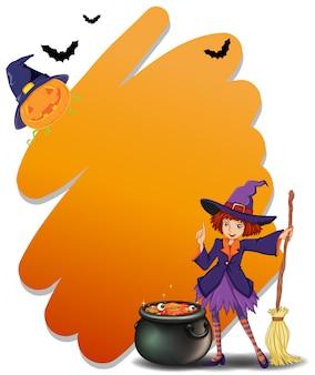 Uma bruxa segurando uma vassoura ao lado de sua panela mágica