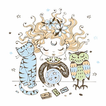 Uma bruxinha bonitinha com um gato e uma coruja olha para uma bola de cristal.