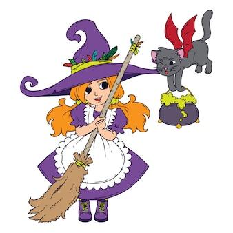Uma bruxinha com uma vassoura, um gato e uma panela.