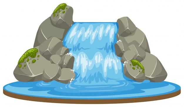 Uma cachoeira isolada no fundo branco