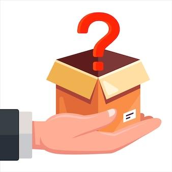 Uma caixa com um ponto de interrogação está na mão de uma pessoa. ilustração plana.