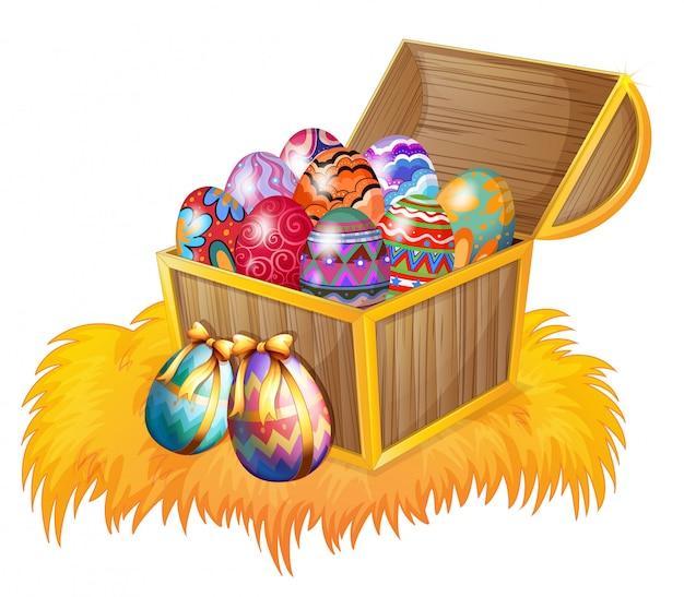 Uma caixa de madeira com ovos de páscoa
