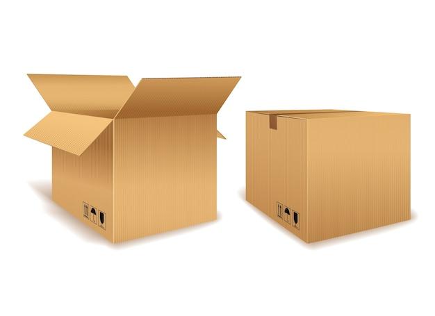 Uma caixa de papelão aberta e outra fechada para embalagem