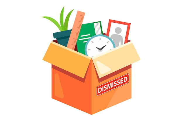 Uma caixa de papelão com os pertences de um funcionário dispensado. ilustração plana isolada no fundo branco.