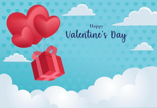 Uma caixa de presentes e balões em forma de coração estão flutuando no céu para celebrar o dia dos namorados