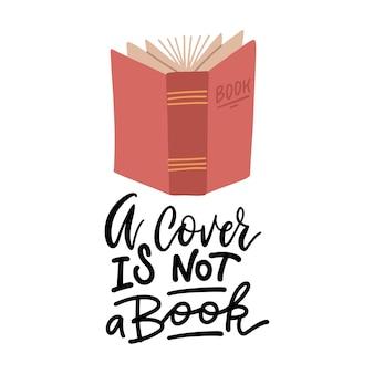 Uma capa não é um livro - citação caligráfica de letras à mão