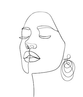 Uma cara de desenho de linha. retrato abstrato da mulher. arte moderna do minimalismo. - ilustração vetorial