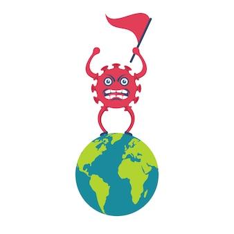 Uma caricatura de coronavírus fica em um planeta com uma bandeira na mão.
