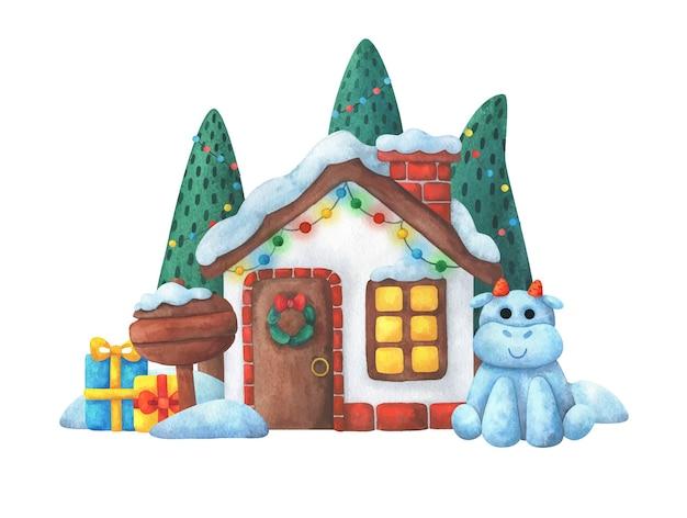Uma casa com decorações de natal, presentes e um touro.