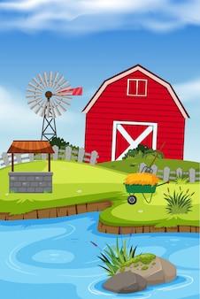 Uma casa de fazenda rural