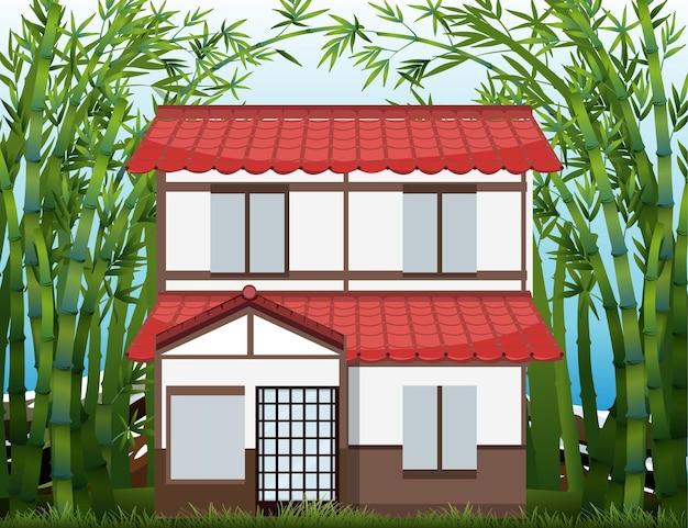 Uma casa na cena da floresta de bamaboo