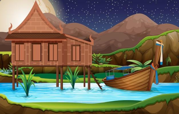 Uma casa tailandesa tradicional