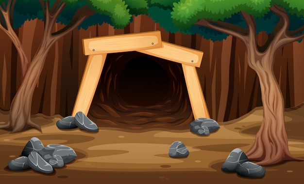 Uma caverna de mina da vista externa ilustração