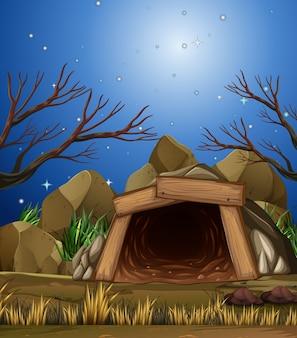 Uma caverna de mineração à noite