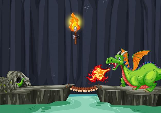 Uma caverna do dragão escuro assustador