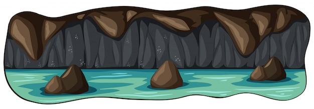 Uma caverna do rio subterrâneo assustador