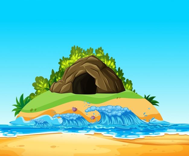Uma caverna misteriosa na ilha