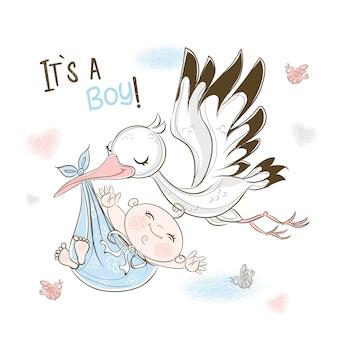 Uma cegonha carrega um bebê. cartão de aniversário para o meu filho.