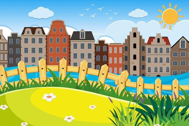 Uma cena ao ar livre com a casa de amesterdão
