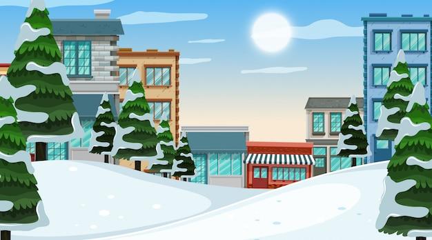 Uma cena ao ar livre com a cidade de inverno