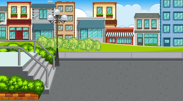 Uma cena ao ar livre com a cidade