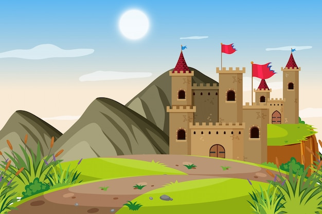 Uma cena ao ar livre com castelo