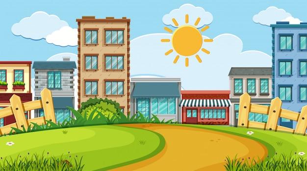 Uma cena ao ar livre com construção de loja
