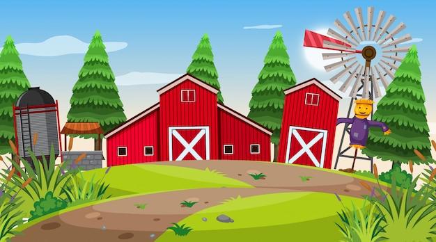 Uma cena ao ar livre com fazenda