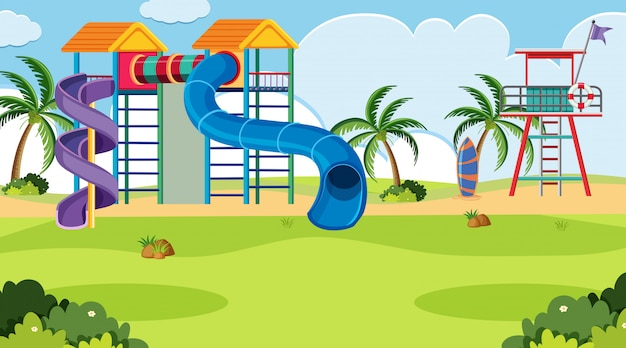 Uma cena ao ar livre com playground