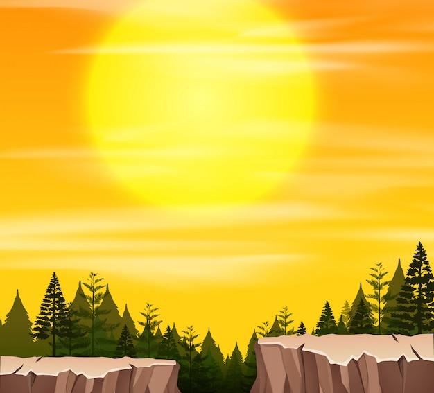 Uma cena da natureza ao pôr do sol