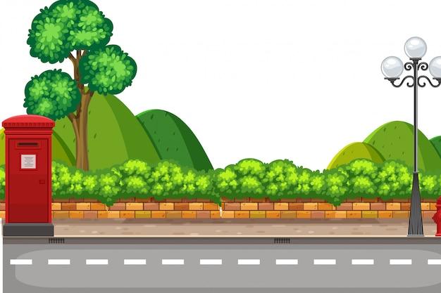 Uma cena da natureza na estrada