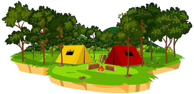 Uma cena de acampamento isolado