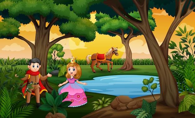 Uma cena de conto de fadas com princesa e príncipes na madeira