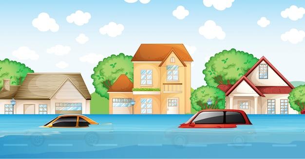 Uma cena de desastre de inundação